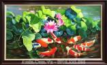 Tranh sơn dầu cá chép hoa Sen quần tụ AmiA TSD 216B