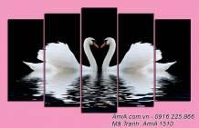 Tranh uyên ương hạnh phúc treo phòng ngủ ý nghĩa AmiA 1610