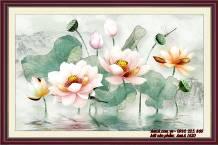 Tranh chủ đề hoa sen Việt Nam đẹp AmiA 1620