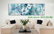 Tranh canvas hoa nghệ thuật 3 tấm amia 1616