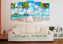 Tranh treo tường AmiA 1615 phong cảnh biển đẹp ghép bộ
