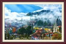 Tranh phong cảnh thị trấn Sapa AmiA 1667