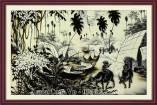 Tranh chăn trâu làng quê đen trắng nghệ thuật AMiA 1663