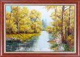 Tranh rừng cây sông nước mùa Thu sơn dầu AmiA TSD 480