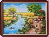 Tranh sơn dầu phong cảnh làng quê khổ nhỏ TSD 477