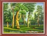 Tranh sơn dầu rừng cây xanh khổ nhỏ TSD 476