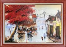Tranh sơn dầu phong cảnh phố cổ mùa Thu TSD 468