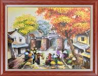Tranh sơn dầu họp chợ trên phố cổ TSD 465