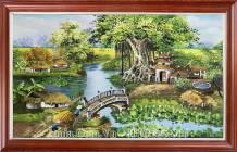 Tranh sơn dầu cổng làng hồ Sen TSD 463