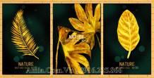 Bộ 3 tranh canvas lá cây vàng Gold sang trọng AmiA 1695