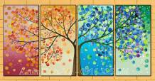 Tranh canvas cây sắc màu 4 tấm nghệ thuật AmiA 1697