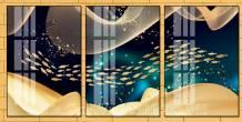 Tranh canvas 3 tấm cho bé đàn cá vàng nghệ thuật AmiA 1702