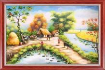 Tranh sơn dầu làng quê Việt Nam Amia TSD 532