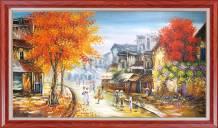 Tranh phong cảnh phố cổ mùa Thu khổ lớn TSD 537