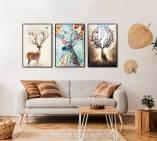 Tranh canvas nghệ thuật chú hươu 3 tấm AmiA 4267