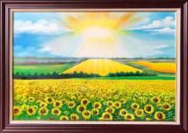 Tranh vẽ hoa hướng dương sơn dầu tỏa nắng TSD 538