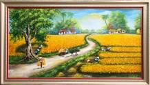 Tranh vẽ phong cảnh mùa màng bội thu sơn dầu TSD 539