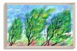 Tranh rừng cây canvas màu xanh AmiA 1751
