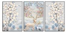Tranh canvas đẹp bộ 3 tấm rừng hoa và nai AmiA 1763
