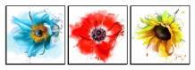 Tranh ghép gỗ 3 tấm hoa lá treo tường AmiA 1494