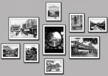 Bộ khung Hà Nội xưa 9 tấm đen trắng AmiA 1790