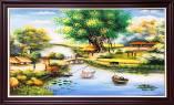 Tranh làng mạc thông quê sơn dầu khổ lớn Amia TSD 543