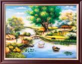 Tranh-phong-canh-lang-que-son-dau-kho-nho-Amia-TSD-543B