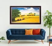 Tranh vẽ cánh đồng lúa chín quê em khổ lớn Amia TSD 544
