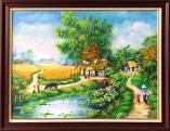 Tranh vẽ cảnh làng quê bình dị khổ nhỏ amia TSD 545