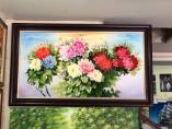 Tranh sơn dầu hoa mẫu đơn 12 bông Amia TSD 549