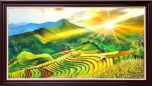 Tranh mặt trời mọc trên ruộng bậc thang sơn dầu khổ lớn TSD 548