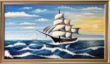 Tranh sơn dầu thuận buồm xuôi gió khổ lớn Amia TSD 546