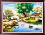 Tranh phong cảnh làng quê sơn dầu khổ nhỏ Amia TSD 543B