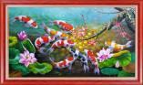 Mẫu tranh sơn dầu cá chép hoa sen cành đào đón xuân Amia TSD 542