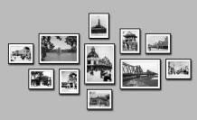 Bộ khung tranh đen trắng Hà Nội xưa 11 tấm AmiA 1787