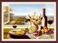 Tranh treo bàn ăn hoa quả rượu vang treo tường AmiA 1776