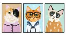 Tranh canvas treo phòng em bé 3 chú mèo Amia 1774