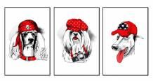 Tranh canvas bộ 3 chú cún mũ đỏ đáng yêu AmiA 1733