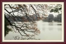 Tranh phong cảnh hồ gươm Tháp Rùa mùa thu AmiA 1660