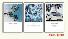 Tranh canvas phong cảnh biển ghép bộ 3 tấm AmiA 1802