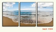 Tranh bãi biển in canvas ghép bộ 3 tấm AmiA 1804