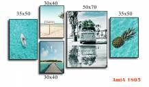 Bộ tranh biển in canvas ghép bộ nhiều tấm AmiA 1805