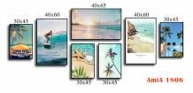 Tranh canvas chủ đề biển ghép bộ nhiều tấm AmiA 1806