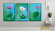 Bộ tranh ghép bộ 3 tấm hoa sen đẹp AmiA 1811