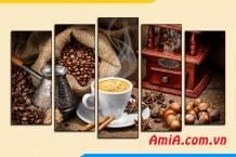 Tranh treo tường quán cafe ghép bộ hiện đại AmiA 1824