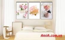 Bộ tranh canvas hoa đẹp trang trí tường Amia 1843