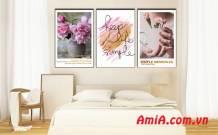 Bộ tranh hoa trang trí đẹp in vải canvas AmiA 1844