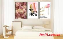 Tranh phòng ngủ in vải canvas hoa trang trí đẹp Amia 1845