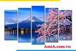 Tranh treo tường núi Phú Sỹ và hoa đào đẹp AmiA 1847