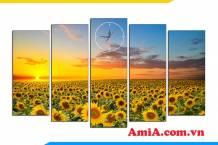 Bức tranh cánh đồng hoa hướng dương treo tường đẹp AmiA 1848